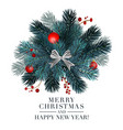 christmas 2019 greeting card with fir ball and re vector image