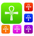 egypt ankh symbol set color collection vector image vector image