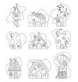 fantasy house set cartoon fairy treehouse vector image vector image