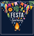 festa junina brazilian june party greeting card vector image vector image
