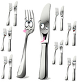 fork and knife cartoon vector image vector image