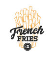 french fries retro emblem vector image vector image