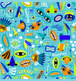funny blue seamless pattern for kids vector image