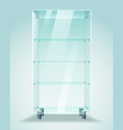 glass showcase with shelves vector image vector image