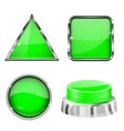 green 3d buttons and icons with metal frame vector image vector image