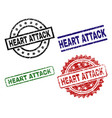 grunge textured heart attack seal stamps vector image