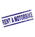 grunge textured rent a motorbike stamp seal vector image vector image