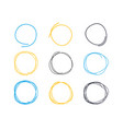 hand drawn circle line sketch circular scribble vector image vector image