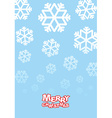 Happy Christmas card Falling snowflakes on blue vector image vector image