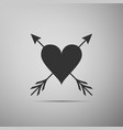 heart with arrow icon isolated on grey background vector image vector image