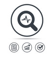 Heartbeat in magnifier icon cardiology symbol vector image
