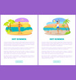 hot summer web posters set woman sexy bikini man vector image vector image