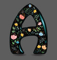 letter a with floral decor black glared symbol vector image vector image