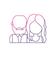 line nice couple with hairstyle design vector image vector image