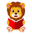 lion reading book vector image