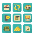 Modern Flat Financial Icons Set vector image