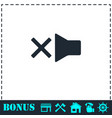 mute icon flat vector image vector image