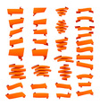 Orange Ribbons Set isolated On White Background vector image vector image