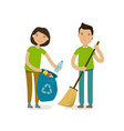 people or volunteers take out trash vector image vector image