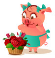 pig housewife female and large basket of flowers vector image vector image