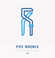 pipe wrench thin line icon vector image vector image