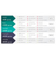 pricing table template design for business vector image