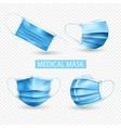 Realistic medical mask transparent icon set