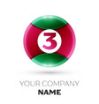 realistic number three symbol in colorful circle vector image vector image