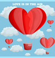 red heart air balloon valentine day card vector image vector image