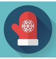 Red winter glove with snowflake Flat designed vector image vector image