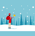 santa claus is coming with bag concept holiday vector image