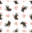 seamless pattern with cute penguins for st vector image vector image