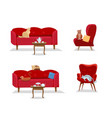 set - 5 cats sit on red comfortable sofas and soft vector image vector image