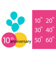 set anniversary emblems anniversary template vector image