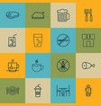 set of 16 food icons includes restroom ale vector image vector image