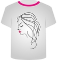 T Shirt Template- Pretty lady vector image vector image