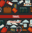 travel or airplane world tour poster flat vector image vector image