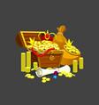 treasure treasure chest and jewels vector image