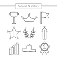 Victory and success Set of linear flat icons vector image vector image