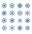 winter hand drawn set of blue snowflakes vector image vector image