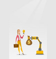 woman selling idea of engineering of robotic hand vector image vector image