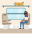 young black passenger sitting in train vector image vector image