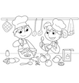 Young kids cooking vector image vector image