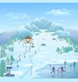 winter recreational park template vector image