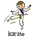 A stickman doing karate vector image vector image