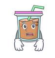 afraid bubble tea mascot cartoon vector image vector image