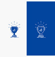 award trophy win prize first line and glyph web vector image