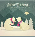 beautiful retro christmas card with polar bears vector image vector image
