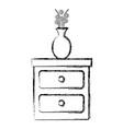 bedroom drawer with flower vase vector image vector image