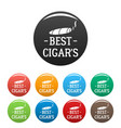 best cigar icons set color vector image